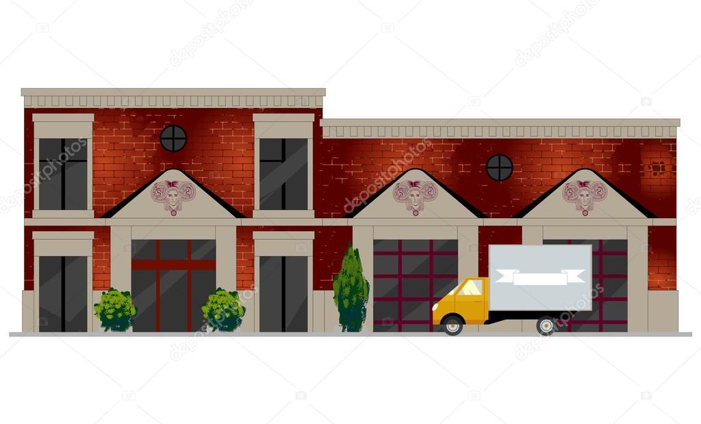 Vector illustration of building facade