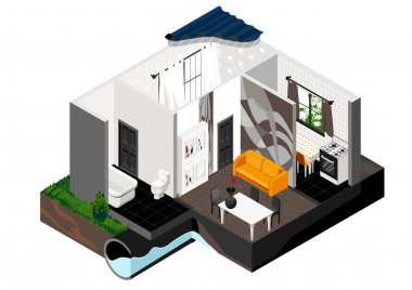 A cut of the house. Isometric view.