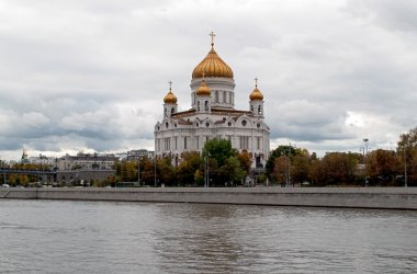 Autumn cityscape Moscow Russia Cathedral of Christ the Saviour