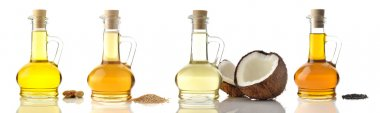 Cooking Oils on White Background