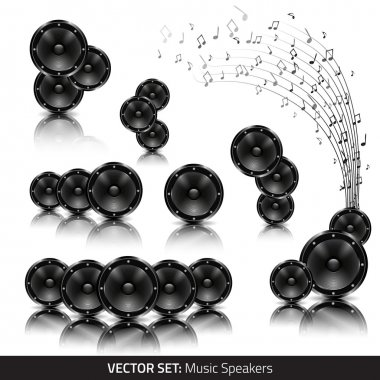 Collection of music speakers