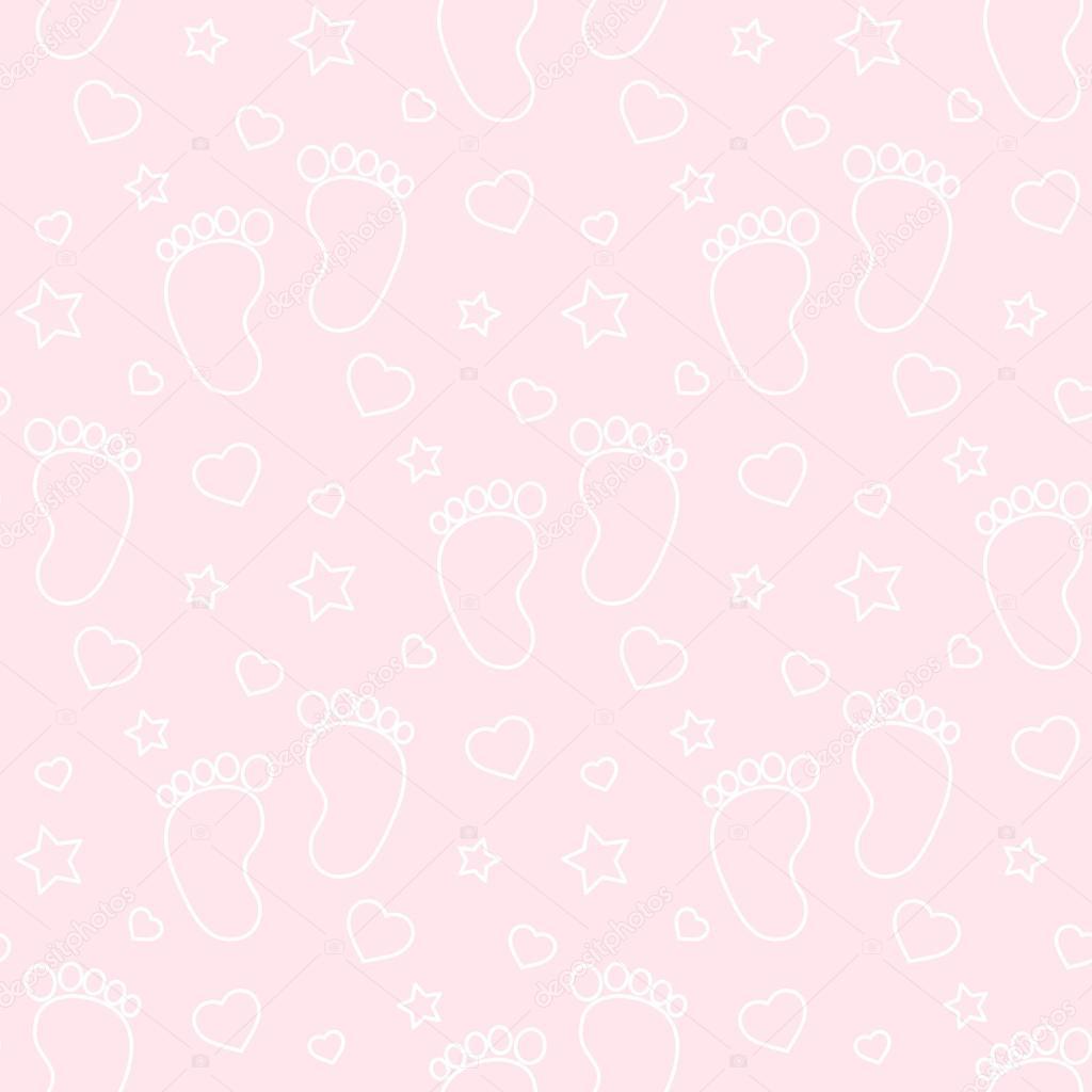 シームレスな赤ちゃんフット プリント背景色およびパターン ベクトル