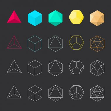 Platonic solids, vector set