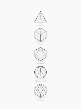 Platonic solids, line design