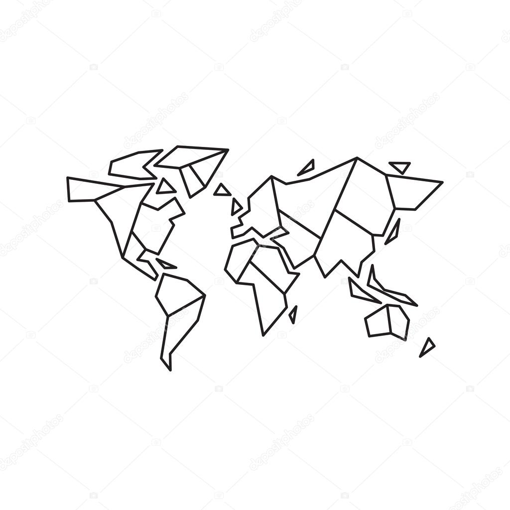 Carte Du Monde Origami.Abstract Geometric World Map Stock Vector C Kovalto1 118387264