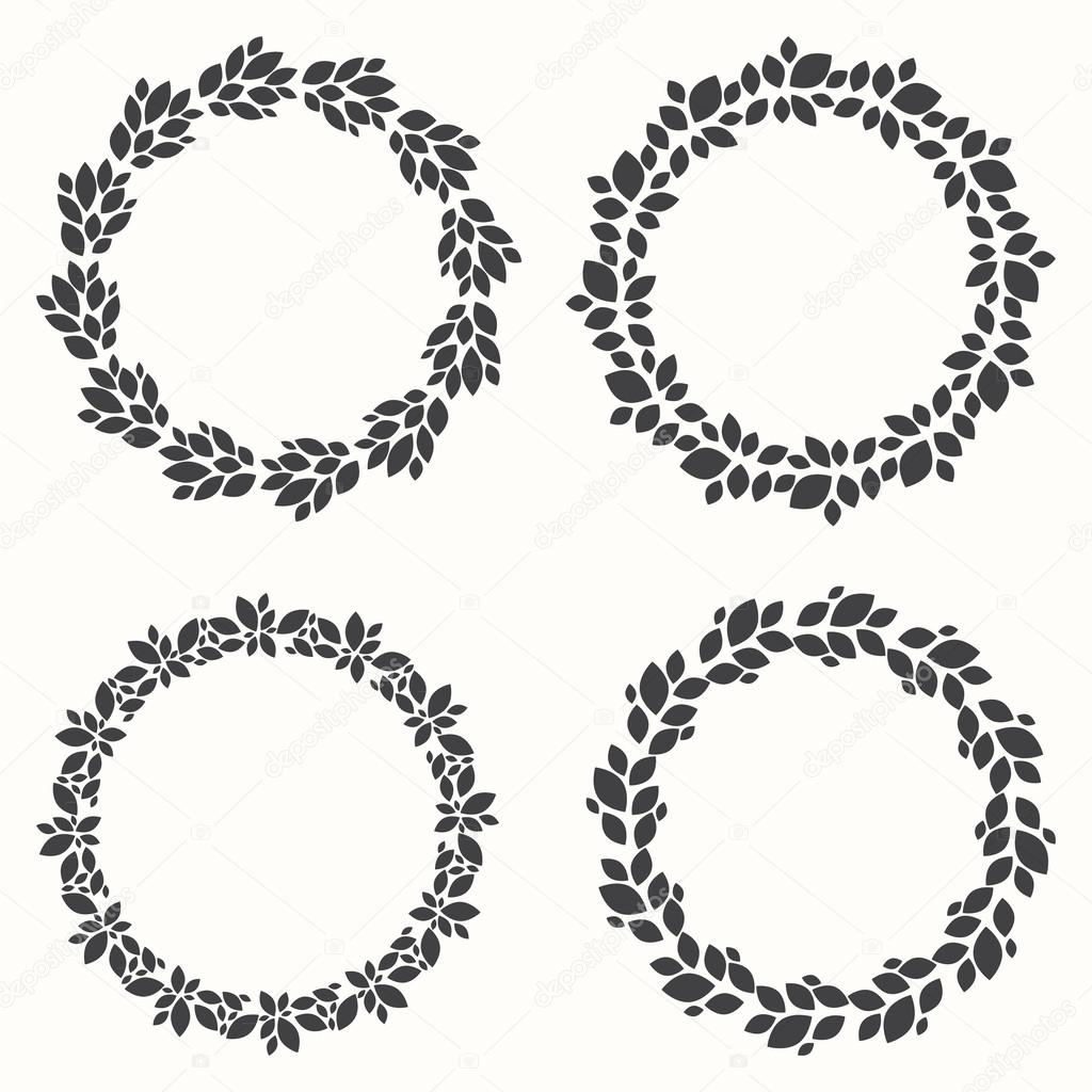 Of Wreaths Set Of Wreaths Silhouette Leaf Design Vector Illustration