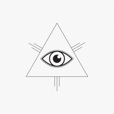 All seeing eye symbol, line design, vector illustration