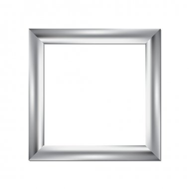 Silver picture frame, square background, vector illustration