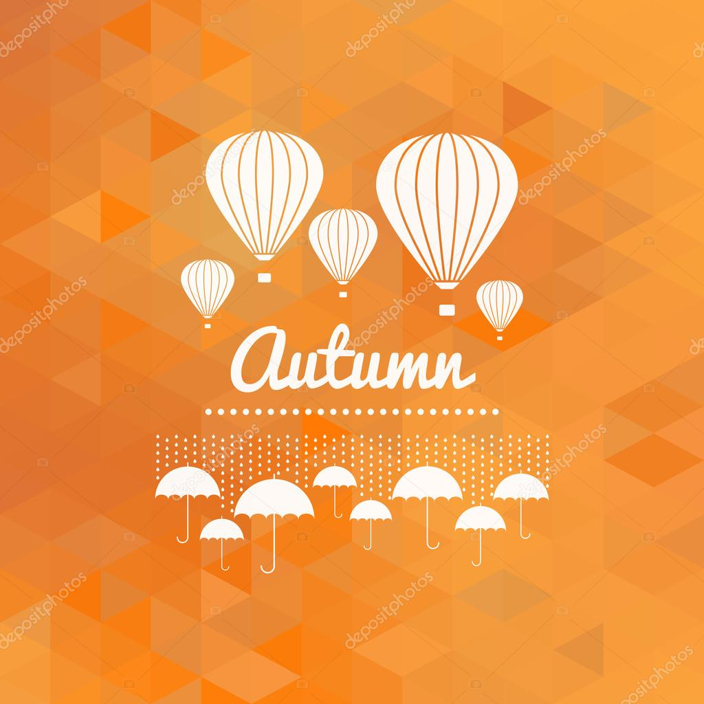 Autumn sign with umbrellas and hot air balloons, orange geometric background