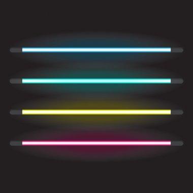 Set of neon tube lights