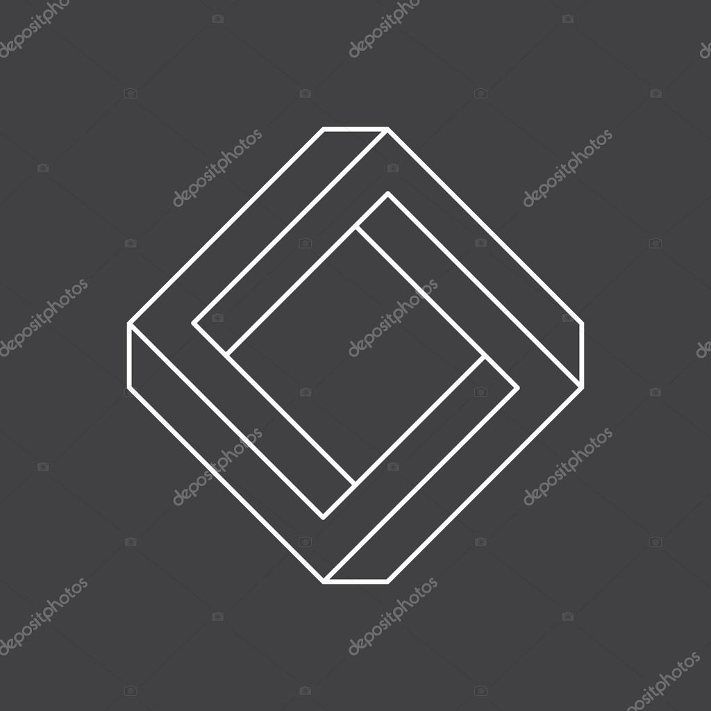 Impossible shape penrose square vector illustration stock impossible shape penrose square vector illustration isolated on black background vector by kovalto1 pooptronica