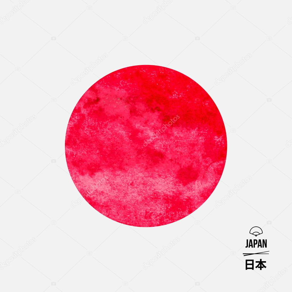 Japan abstrakte Flagge, Aquarell Design, Vektor-illustration ...