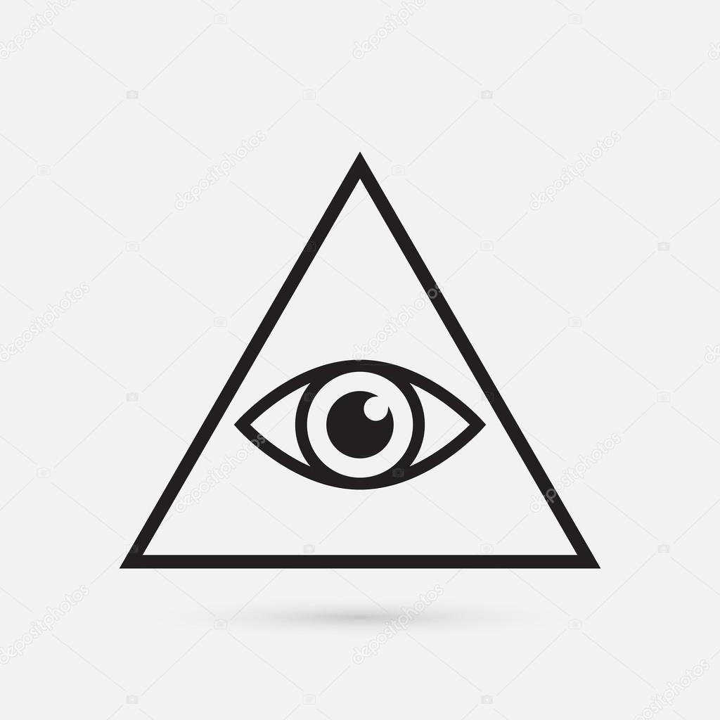 All seeing eye symbol, simple triangle, vector illustration