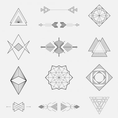 Set of geometric shapes, triangles, line design