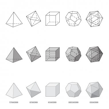 Platonic solids, vector illustration