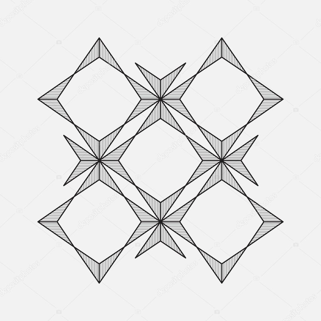 Line And Shape Design : Geometric pattern line design square and star shape