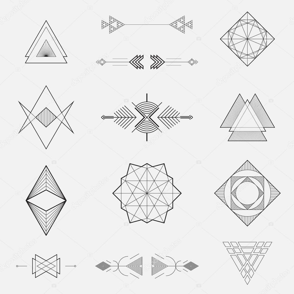 Set of geometric shapes, triangles, line design