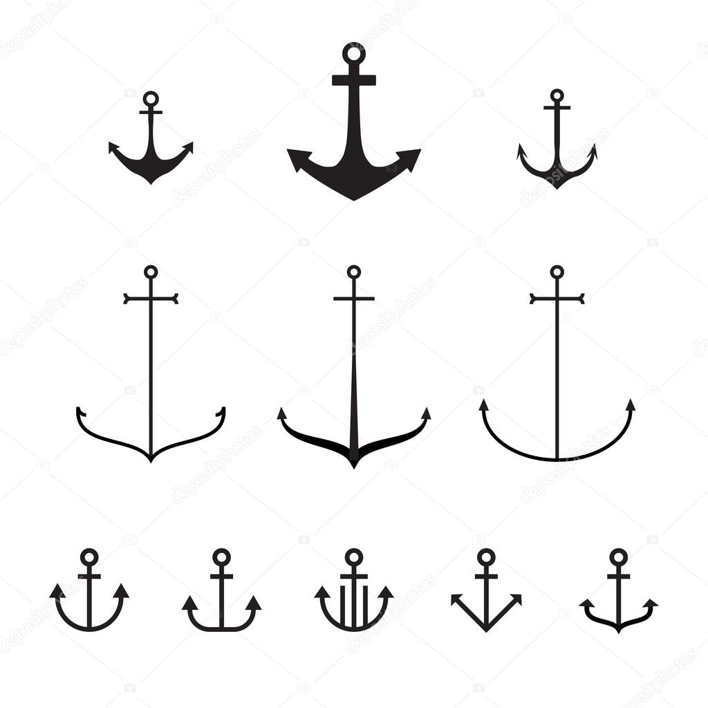 Set of anchors, vector illustration, modern simple design