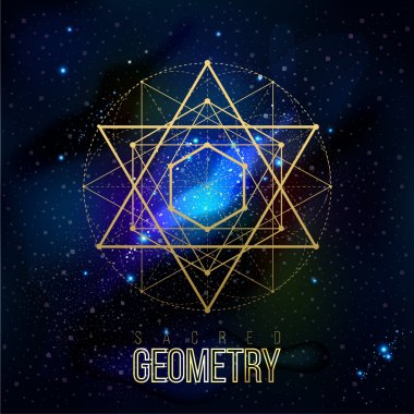 Sacred geometry forms on space background