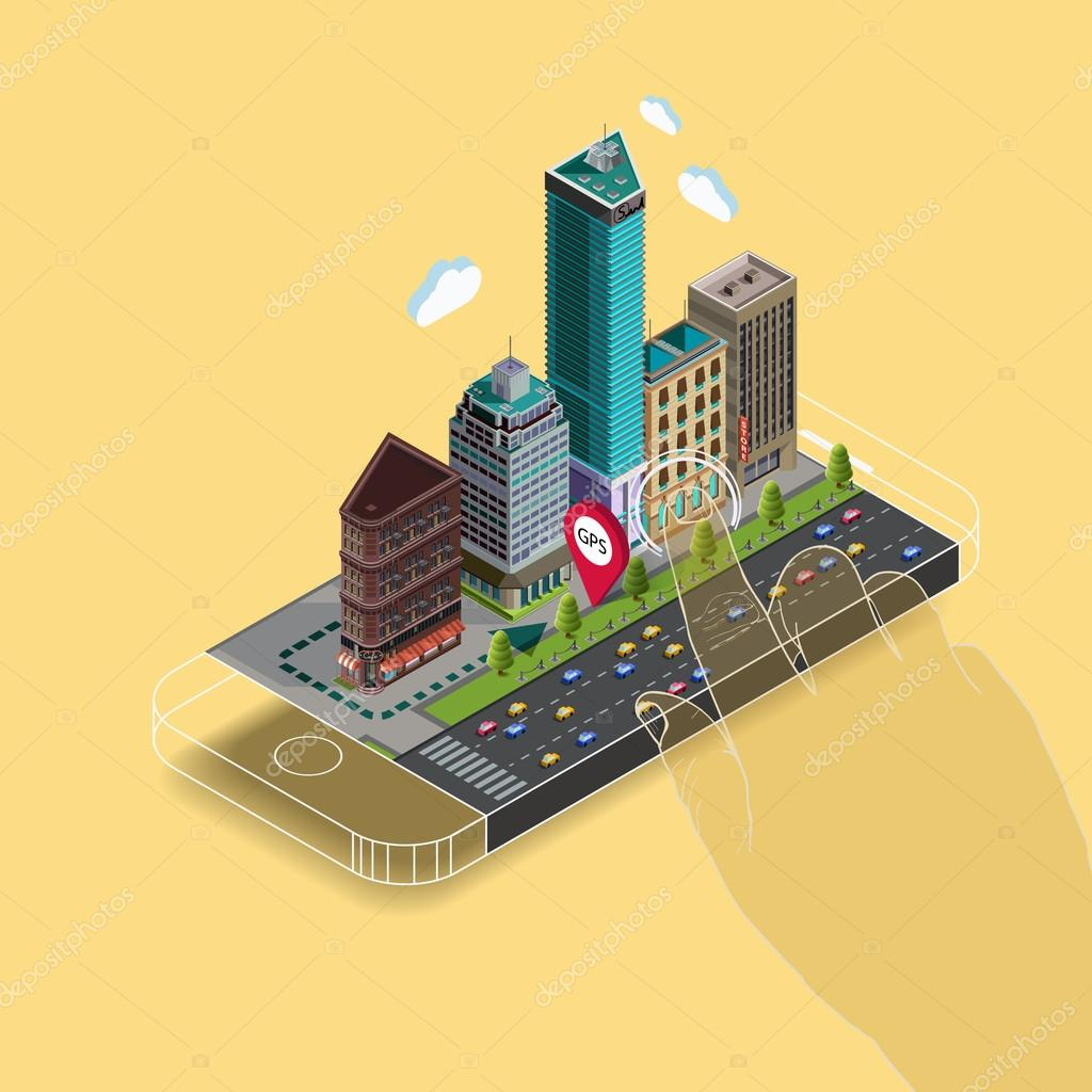 Flat 3d isometric map on mobile GPS navigation