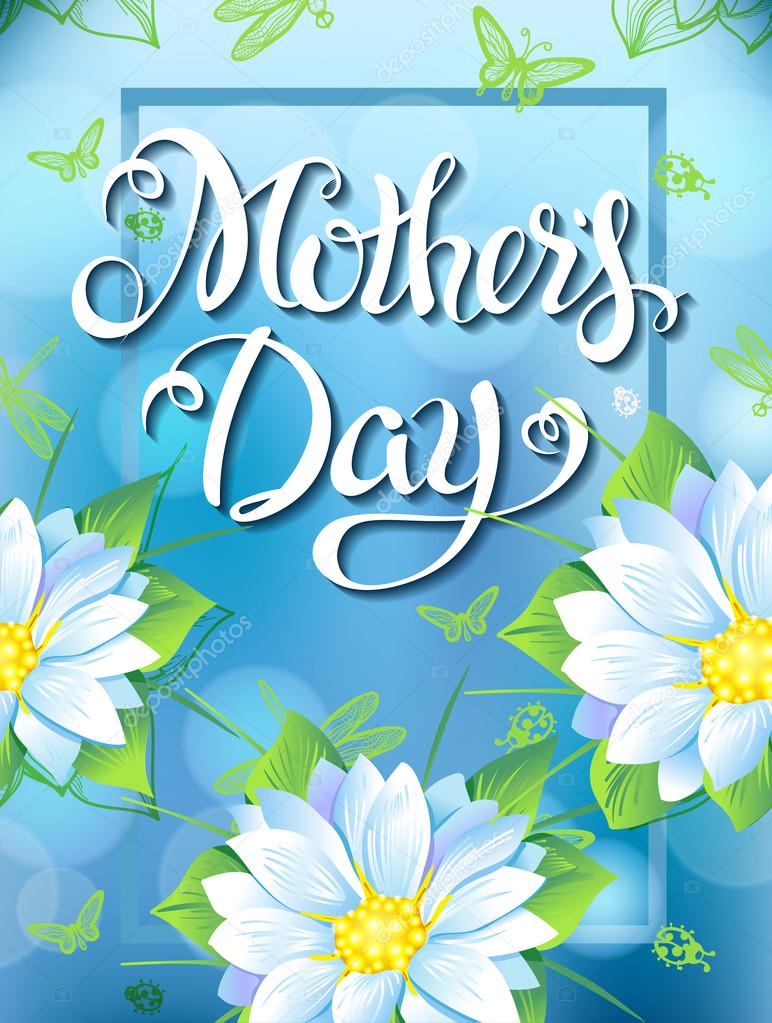 Mothers Day Lettering, poster, advertising of spring flowers