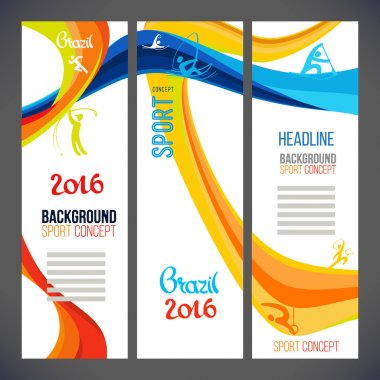 Sport concept banners.2016 with colored lines and waves