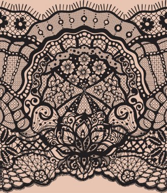 Vector Abstract seamless pattern with lace leaves and flowers pattern