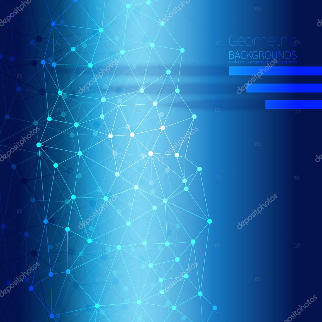 Blue Abstract Mesh Background with Circles.