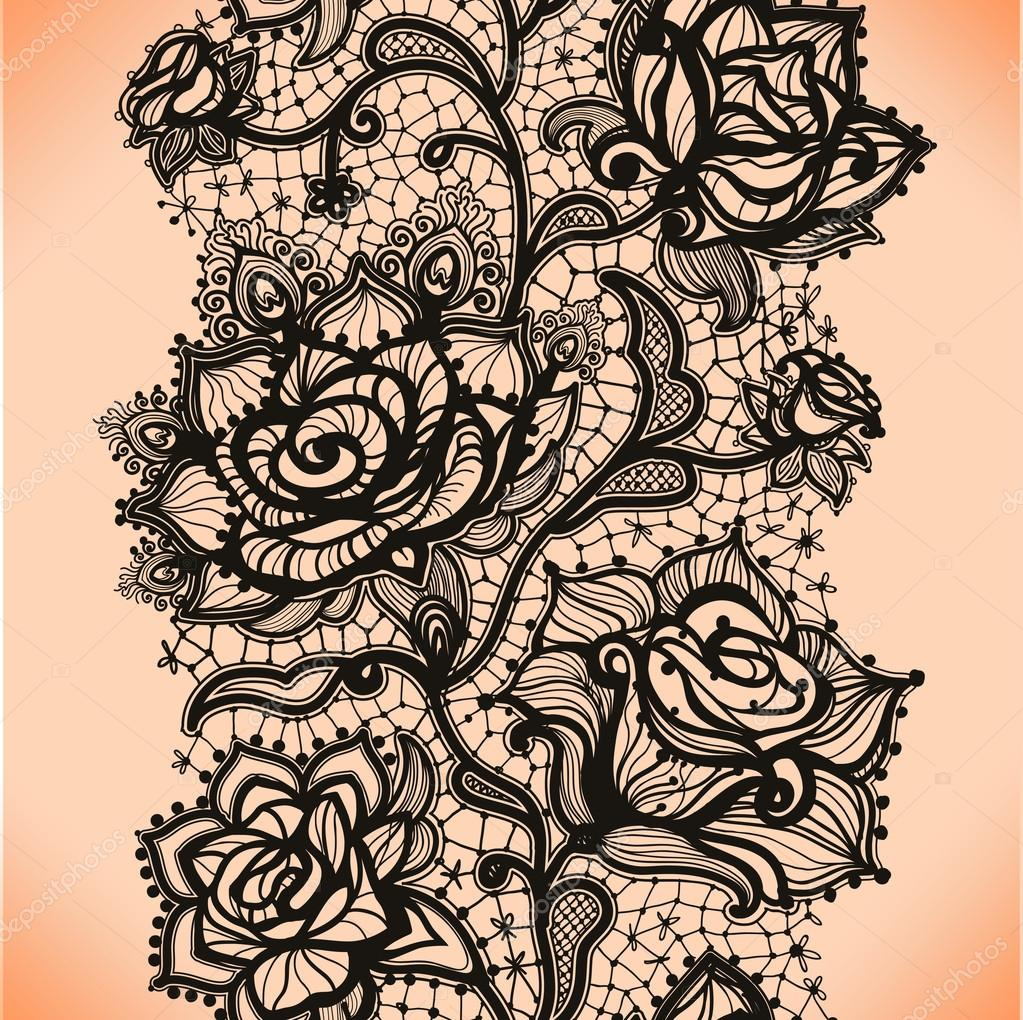 Black Flower Rose From Lace On White Background: Abstract Seamless Lace Pattern With Flowers Roses