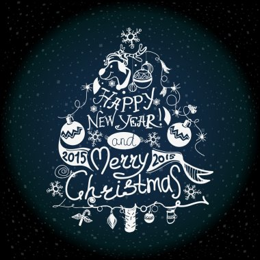 Christmas and New year label the effect of chalk