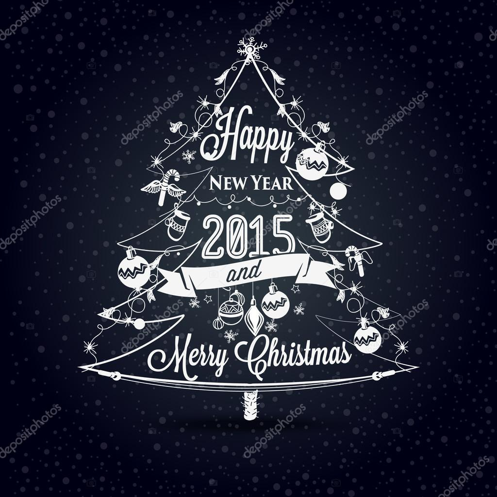 christmas and new year label the effect of chalk stock vector