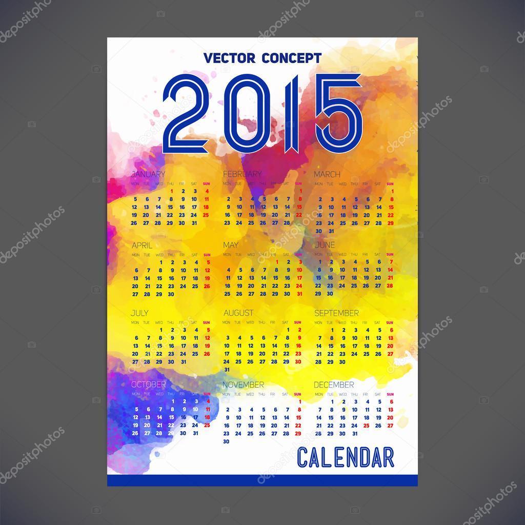 Calendario para el año 2015 con diseño de plantilla — Vector de ...