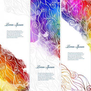 Banners with waves and splash watercolors