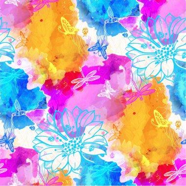 Watercolors of flowers, butterflies, birds, dragonflies and beetles.