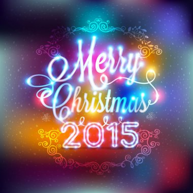 Christmas and New year label with colored lights on backgrounds
