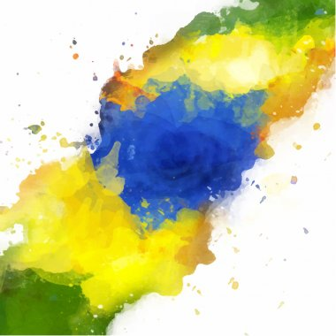 Vector watercolor splash in Brazil flag concept color