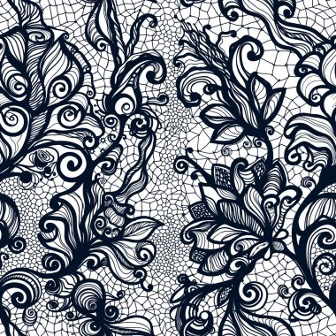 Lace pattern with flowers