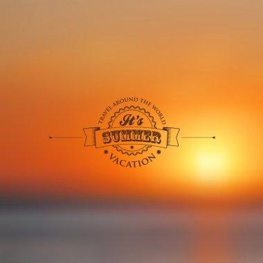 Blurred Ocean Landscape with Label