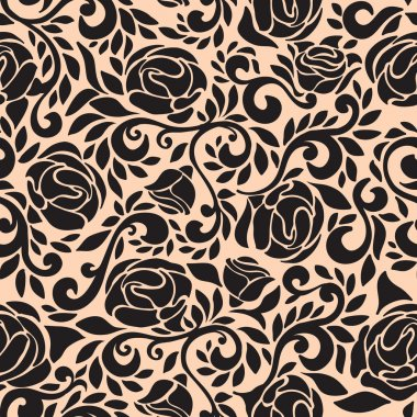 Abstract seamless lace pattern with flowers rose.