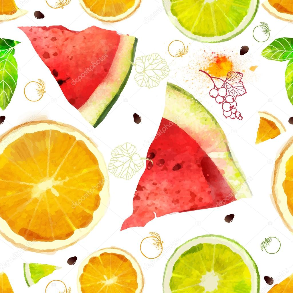 Fruit seamless pattern mixture