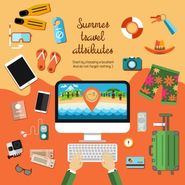 travel, vacation icons, symbols set