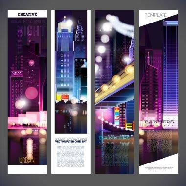 urban night city banners