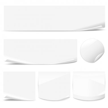 Set of white paper stickers