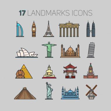 set of world landmark icons