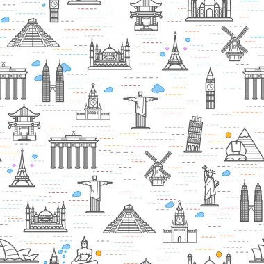 world attractions seamless pattern