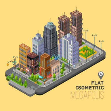 Isometric city, streets, buildings