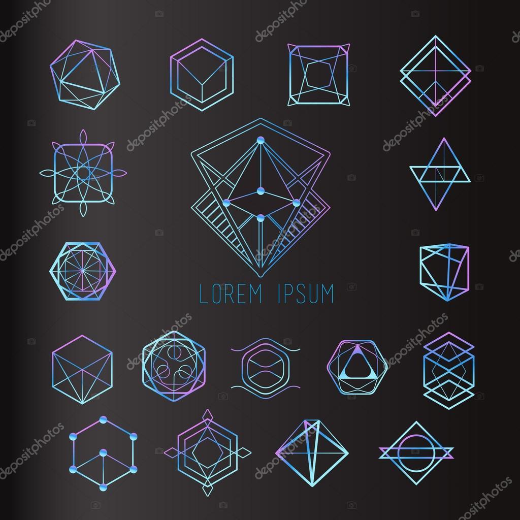 set of geometric shapes, logo icons