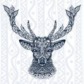 Sign of deer head with ornament