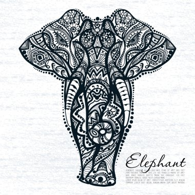 abstract elephant with indian ornament