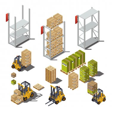warehouse service icons set